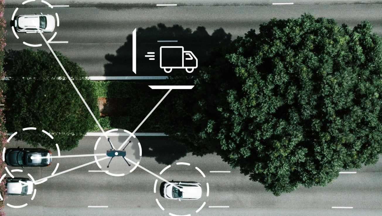 A drone inspecting traffic